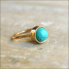 Turquoise Gold Ring by illuminancejewelry on Etsy, $38.00