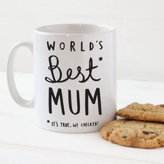 This simple, bold and stylish World's best mum mug makes a great gift for mum for Christmas or Mother's Day.This lovely high quality chunky Mother's Day mug has been lovingly illustrated and printed in our UK studio. The charming mug for mums has been illustrated with the hand lettered message 'World's Best* Mum, *It's true, we checked!' This chunky mum mug would make a fantastic stocking filler for mums who like their coffee or tea! Our mugs are lovingly wrapped and packaged in a sturdy…