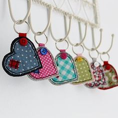 Wide Heart Fabric Key Ring -: Making these for my friends as leaving gifts! xx