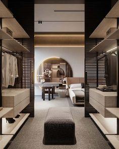 Bedroom Closet Design, Home Room Design, Dream Home Design, Home Interior Design, Interior Architecture, Dressing Room Design, Luxury Closet, Modern Spaces, Luxurious Bedrooms