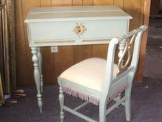 Vintage-Shabby-LADIES-Writing-DESK-CHAIR-Mint-Green-French-Cottage-Chic