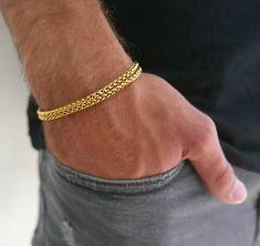 Men's Bracelet - Men's Gold Bracelets - Men's Chain Bracelet - Men's Cuff Bracelet - Men's Jewelry - Men's Gift - Boyfriend Gift - Husband - Men's style, accessories, mens fashion trends 2020 Mens Gold Bracelets, Mens Gold Jewelry, Jewelry Bracelets, Bracelet Men, Men's Jewelry, Jewelry For Men, Handmade Jewelry, Chain Bracelets, Simple Bracelets