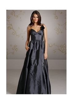 Ruched A-line V-neck Black Spaghetti Straps Taffeta Floor Length Bridesmaid Dresses DIB119303