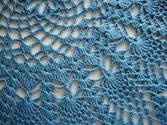 Crochet Pineapple Doily Medium Blue Lace by HandcraftedorVintage