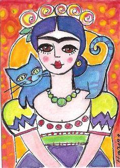 FRIDA KAHLO Blue CAT Original ACEO Sketch Card Mexican Folk Art Painting HARING | eBay