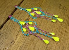 Turquoise Purple and Neon Yellow Crystal Lace by rockspapermetal, $24.00