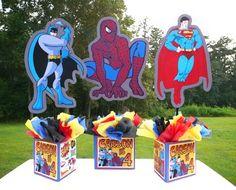 Superheroes Birthday Party Centerpiece,Batman, Spiderman, Superman, marvel comics, heroes
