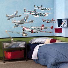 Airplane Theme Wall Mural Inspiration Kids Decor Room Murals
