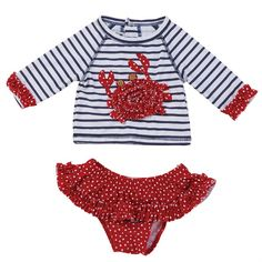 2-piece set. Nylon spandex rash guard with ruffled cuffs and back snap closure features dimensional polka dot crab applique with button eyes. Comes with matching nylon spandex ruffled bikini bottoms.
