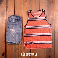 Look de spring para el calor <3 #men #spring #short #denim #tanktop #fashion #ootd #look #AeropostaleMx #aerospringmx