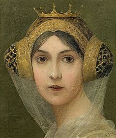 Portrait of A Lady (Porträt einer Dame) c. 1900 by Paul Grabwinkler; Oil on canvas Hat Hairstyles, Vintage Hairstyles, Pre Raphaelite, Historical Art, Portraits, Medieval Clothing, Victorian Art, Old Paintings, Art For Art Sake