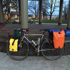 My fully loaded bike at sunrise last weekend. Keep an eye out for more pictures to come. I leave for a tour down the pacific coast highway in a week! #tbt #adventurebybike #pnw #bikepacking #biketouring #steelisreal #miyata310 by bikewithst