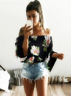LOSSKY Fashion Woman Sexy Print Summer Chiffon Blouse Women 2018 Blusa Feminina White Off Shoulder Womens Tops and Blouses Cute Outfits With Jeans, Cute Outfits For School, Teen Fashion, Womens Fashion, Fashion 2016, Fashion Spring, Style Fashion, Latest Fashion, Trendy Summer Outfits