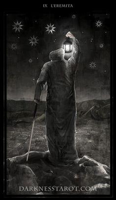 The Hermit. darknesstarot.com #hermit #thehermit #darknesstarot #tonydimauroart