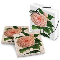 Blushing Camellia Stone Travertine Coaster (Set of 2)