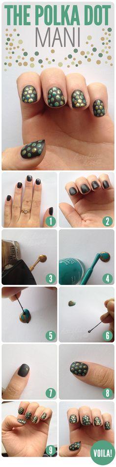 12 Simple And Easy Nails Tutorials, The Polka Dot Mani