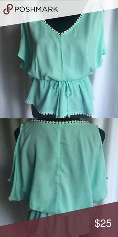 🎉TODAY ONLY SALE!!🎉Mint Cold Shoulder Peplum Top Mint scoop neck cold shoulder design top with a peplum cut.  100% Rayon.  S (3-5) M (7-9) L (11-13) XL (15-17) XXL (19) New Retail but no tags. Tops Blouses