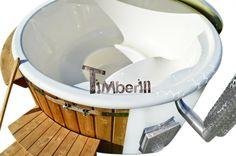 Hot Tub glasvezel met conische wanden. Wellness model met thermo hout