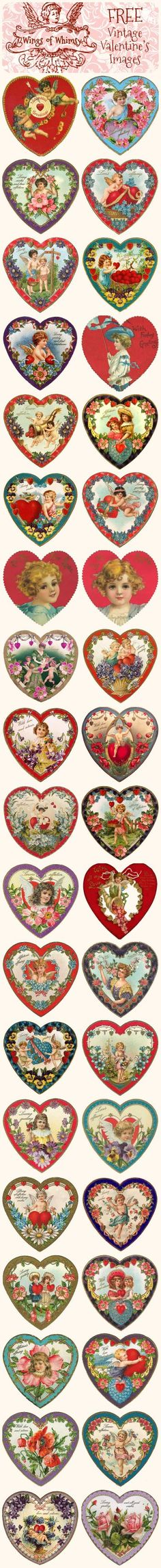 Valentine's Hearts – DAY 2 Wings of Whimsy: Valentine Hearts - free for personal use.Wings of Whimsy: Valentine Hearts - free for personal use. Valentine Images, My Funny Valentine, Vintage Valentine Cards, Saint Valentine, Valentine Day Love, Valentine Day Crafts, Vintage Cards, Vintage Postcards, Vintage Ephemera