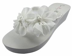 55d659310 Ivory Wedge Flip Flops Wedding Bridal White Wedge Bride Platform Heel Flower  Satin Shoes Sandals Beach