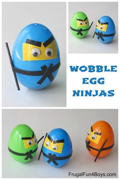 Egg Ninjas Wobble Egg Ninjas - They wobble and pop back up when you knock them down! Fun homemade toy using plastic eggs.Wobble Egg Ninjas - They wobble and pop back up when you knock them down! Fun homemade toy using plastic eggs. Plastic Easter Eggs, Easter Egg Crafts, Easter Activities, Craft Activities, Tape Crafts, Fun Crafts, Holiday Crafts, Holiday Fun, Ninja Party