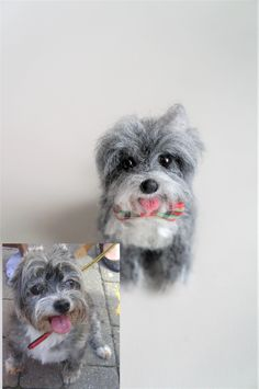 """This is """"Banjo"""" I felted based on inset of the first photo.  Its right ear is always down.  :-) 3 inches tall.  #JanetsNeedleFelting #petreplica #petlossgift #dogart"""