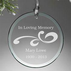 Personalized Glass Memorial Christmas Ornament - Loving Memory - 12641