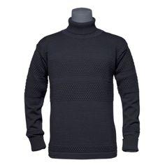 original fiskertrøje med rullekrave  farve: navy blue - traditional danish fisherman sweater, 1930 Hvidesande