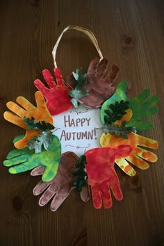 fall crafts for kids preschool Autumn Handprint Wreath. My eldest baby helped me make this for my Grandma and Papa back in Fall He wasn't even two years old at the Daycare Crafts, Classroom Crafts, Baby Crafts, Crafts To Do, Diy Y Manualidades, Manualidades Halloween, Halloween Crafts, Fall Halloween, Fall Arts And Crafts