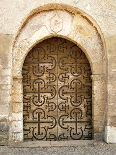 Chapaize,Saone et Loire,Burgundy,France.Door of the Roman church,11th Century. by abac077 on Flickr.