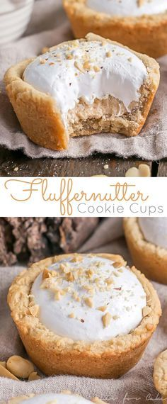 The classic peanut butter and marshmallow fluff sandwich gets a major makeover into these delicious Fluffernutter Cookie Cups! livforcake com is part of Cookie cups - Mini Desserts, Cookie Desserts, Easy Desserts, Cookie Recipes, Delicious Desserts, Dessert Recipes, Party Cookies Recipe, Brownie Cookie Cups, Sugar Cookie Cups