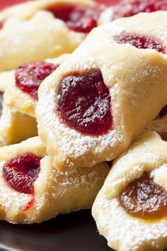 Recipe including course(s): Dessert; and ingredients: butter, cream cheese, flour, powdered sugar, preserves