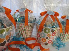 Gift Baskets-- Plastic ice buckets and scrapbook paper!