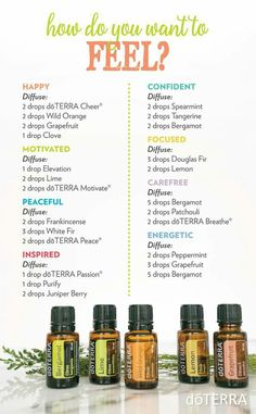 How Do You Want To Feel? Essential Oils Diffuser Blends ••• Buy dōTERRA essential oils online at www.mydoterra.com/suzysholar, or contact me suzy.sholar@gmail.com for more info.