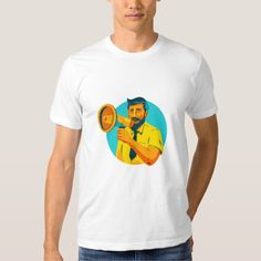 Bearded Hipster Man With Megaphone WPA Shirt. WPA style illustration of bearded hipster man holding megaphone viewed from front set inside circle on isolated background. #illustration #BeardedHipsterMan WithMegaphone