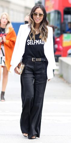 Aimee Song #NYFW Spring 2015 Street Style | $ELFMADE tee, white blazer and wide leg trousers