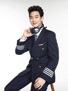 Kim Soo Hyun transforms into a handsome pilot for Jeju Air