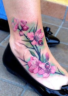 This flower ladybug tattoo idea!!!! This is it!!!