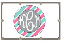 Yeti Decal/ Camp Trunk Decals/ Vinyl Sticker/ Striped Circle Monogram/Monogram Decal by RusticGraceCo on Etsy