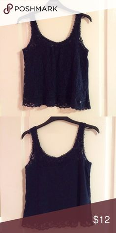Abercrombie navy blue lace tank top Abercrombie navy blue lace tank top. Size x small. Worn once and in great condition. Ask for try on pics or bundles. Abercrombie & Fitch Tops Tank Tops