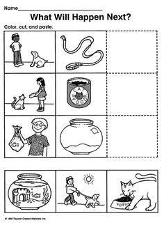 What Will Happen Next? - Printable Critical Thinking Worksheet for Preschool & Kindergarten (inferences)