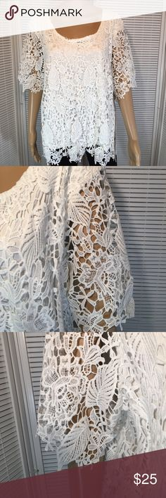"""Simply Emma White Laser Cut Lined 1X NWT Top Stunning white on white. Beautiful detail. Knit Lace Top. No flaws. Bust is 50"""". Length is 25"""". Sleeves are 7 1/2"""" straight across at hem. Non smoking home Simply Emma Tops"""