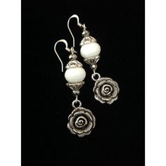 Rose Earrings White Agate Earrings White Agate Earrings Gemstone... (£21) ❤ liked on Polyvore featuring jewelry, earrings, rose jewellery, white dangle earrings, white agate jewelry, rose jewelry and bride earrings