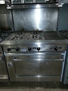 Used JADE 4 burner with inch griddle natural us for quotes, pricing and product details/ by AIMCO Equipment Company. Used Equipment, Oven Range, Griddles, Kitchen Appliances, Kitchens, Kitchen And Bath, Jade, Baths, Natural