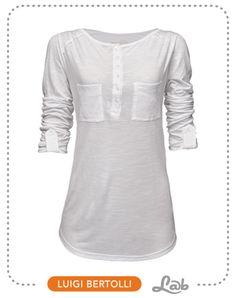 Blusa Malha Flamê com Vista e Bolsos Branca - Ref. 35.14.0226