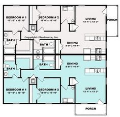 Duplex plan with one bedroom and bath per unit. A single car garage is also a feature of this floor plan. Family House Plans, Best House Plans, Dream House Plans, Modern House Plans, Small House Plans, Duplex Floor Plans, Apartment Floor Plans, House Floor Plans, Building Plans