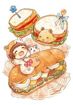 ハムちゃんのぎっしりサンドイッチ by もかろーる   CREATORS BANK http://creatorsbank.com/mokarooru/works/310740