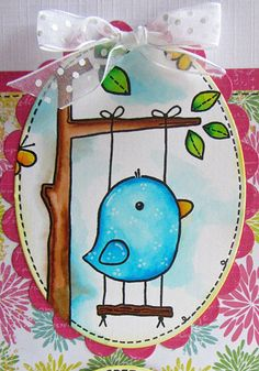 Woodware  Funny Bird stamp card idea