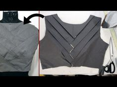 Origami blouse design ,complete blouse cutting and stitching step by step tutorial - Neck Designs For Suits, Fancy Blouse Designs, Blouse Neck Designs, Sari Design, Blouse Tutorial, Blouse Designs Catalogue, Stitching Dresses, Kurta Neck Design, Stylish Blouse Design