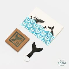 The Whale Tail Keychain + Hand Stamped Greeting Card Gift Set - 0